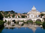 The Vatican Seen Past the Tiber River  Rome  Italy