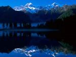 Lake Matheson Reflects Mount Tasman and Mount Cook New Zealand
